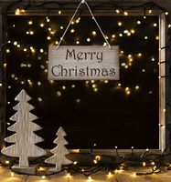 Window, Lights In Night, Text Merry Christmas