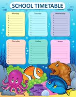 Weekly school timetable thematics 1 - picture illustration.
