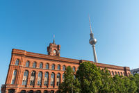 Television Tower and town-hall in Berlin on a sunny day
