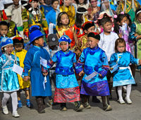 Children in  traditional deel costumes, Mongolian National Costume Festival, Ulaanbaatar, Mongolia