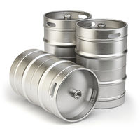 Metal beer kegs isolated on white background.
