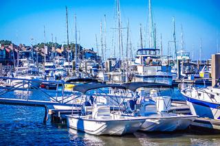 bohiket marina with boats near kiawah island
