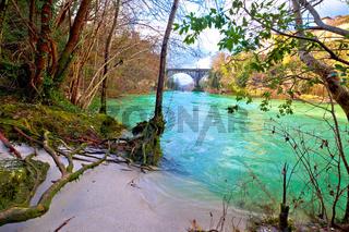 Natisone river sand coast and devil's bridge in Cividale del Friuli view from canyon