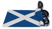 notenschlüssel und schottische flagge - 3d illustration