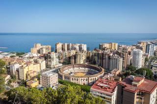 aerial view of Malagueta district and La Malagueta Bullring in Malaga, Spain, Europe on a bright summer day
