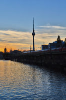 sunset over the river Spree in Berlin
