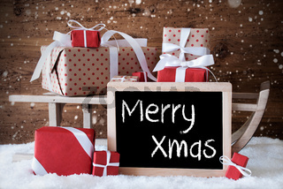 Sleigh With Gifts, Snow, Snowflakes, Text Merry Xmas