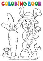 Coloring book rabbit gardener theme 1