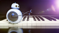 sweet little robot runs over piano key