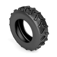 Tractor tire on white
