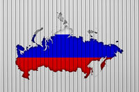 Karte und Fahne von Russland auf Wellblech - Map and flag of Russia on corrugated iron