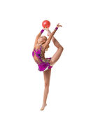 Young slim gymnast with red ball artistic portrait
