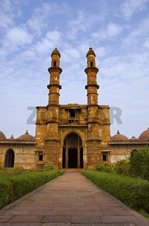 Outer view of Jami Masjid (Mosque), UNESCO protected Champaner - Pavagadh Archaeological Park, Gujarat, India. Dates to 1513 AD