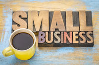small business banner in letterpress wood type