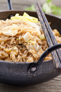 Fried Rice with Vegetable as closeup in a WOK
