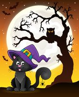 Tree silhouette and Halloween cat