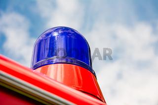 Blue light of a fire truck oldtimer