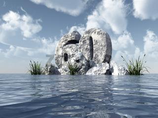 nummer sechzig aus stein im wasser  - 3d illustration