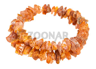 bracelet from rough amber stones isolated