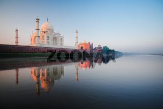 Empty Taj Mahal River Reflection at Sunrise