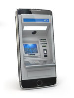 Mobile online banking and payment concept. Smart phone as ATM  isolated on white background.