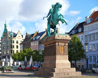 The equestrian statue of Bishop Absalon on  the Hojbro Plads.