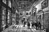 Louvre painting, Hall of a castle of the seventeenth century, vintage engraving.