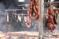 Sausage, medieval barbecue in the traditional festivals of Alcalá de Henares, Madrid, Spain