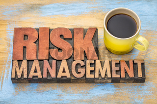 risk management banner in wood type