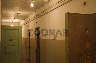 korridor in frueherem gefaengnis des sowjetischen geheimdienstes kgb, corridor former soviet prison of the kgb, committee for state security,