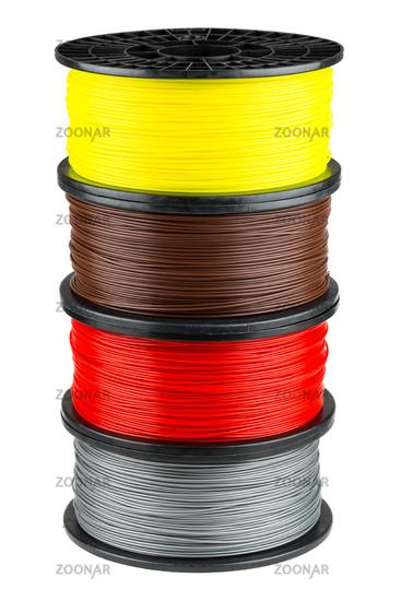Four ABS or PLA filament coils