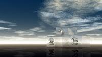 siegerpodest aus glas unter wolkenhimmel - 3d illustration