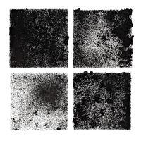 Set of four black stenciled squares