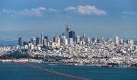 Telephoto image of the Golden Gate Bridge and San Francisco
