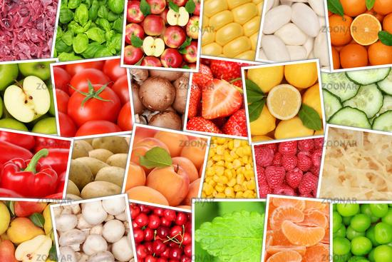 Obst und Gemüse Früchte Hintergrund von oben Apfel Tomaten Orangen Zitrone
