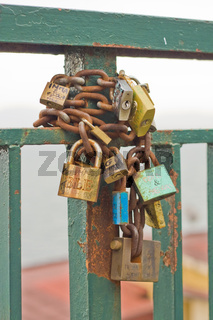 padlocks of love, embankment of naples