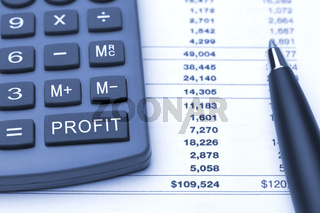 macro blue calculator with additional button to calculate profit