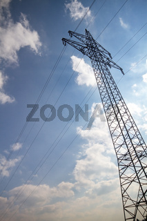 Electrical tower in spring time