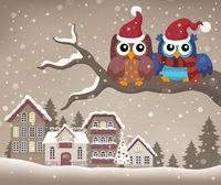 Christmas owls on branch theme image 2