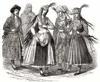 Female Persian costumes,  17th century