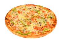 pizza with peppers and tomatoes