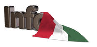 das wort info mit der flagge von ungarn - 3d rendering