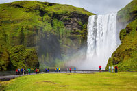 Magnificent  waterfall Skógafoss, Iceland