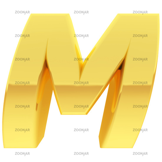 Gold alphabet symbol letter M with gradient reflections isolated on white. High resolution 3D image