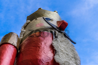 Close-up view of the world's biggest nutcracker in front of the entrance to the Christmas market in Braunschweig, Germany