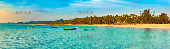 Seascape at sunset time. Beautiful landscape of the Indian ocean. High resolution panorama