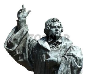 Martin Luther mit Bibel und erhobener Hand