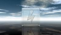 blitzsymbol in glaswürfel - 3d illustration