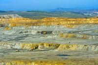 Open-pit copper mine of the Erdenet Mining Corporation, city of Erdenet behind, Erdenet, Mongolia