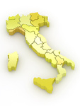 Three-dimensional map of Italy on white isolated background. 3d
